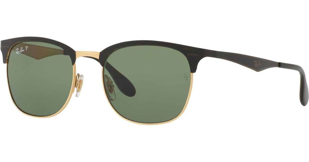 6ba08f009d Ray-Ban Rb3538 Half Frame Polarised Square Sunglasses in Green - Lyst