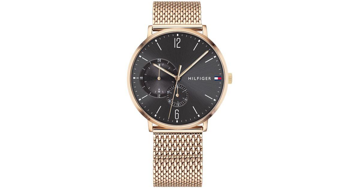 395c6073 Tommy Hilfiger Rose Gold-tone Stainless Steel Mesh Bracelet Watch 40mm in  Metallic for Men - Lyst