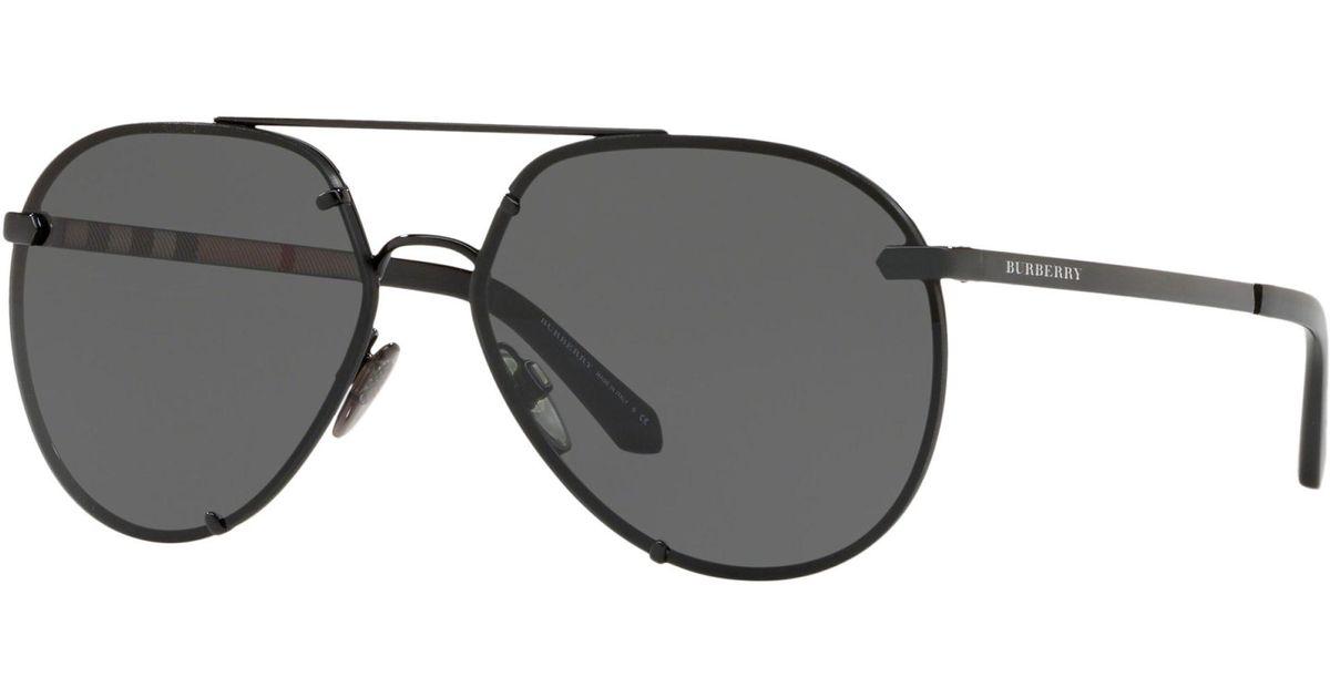 49e33b5e8 Burberry Be3099 Women's Aviator Sunglasses in Black - Lyst