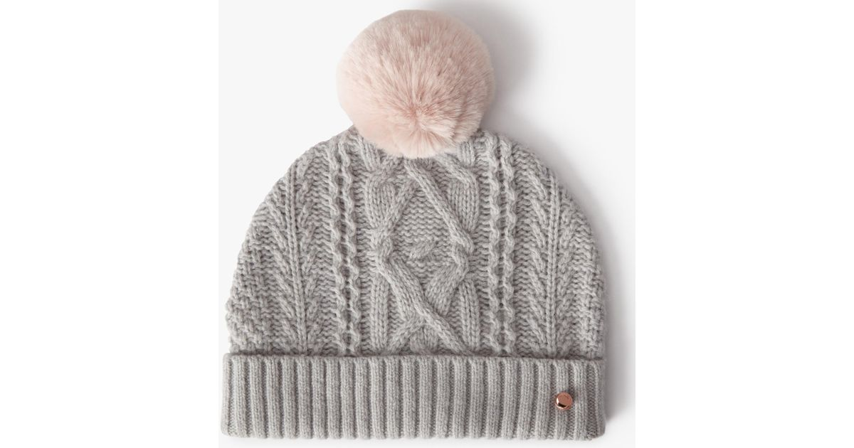 db9632446abfe Ted Baker Wool Blend Cable Knit Faux Fur Pom Pom Beanie Hat in Gray - Lyst