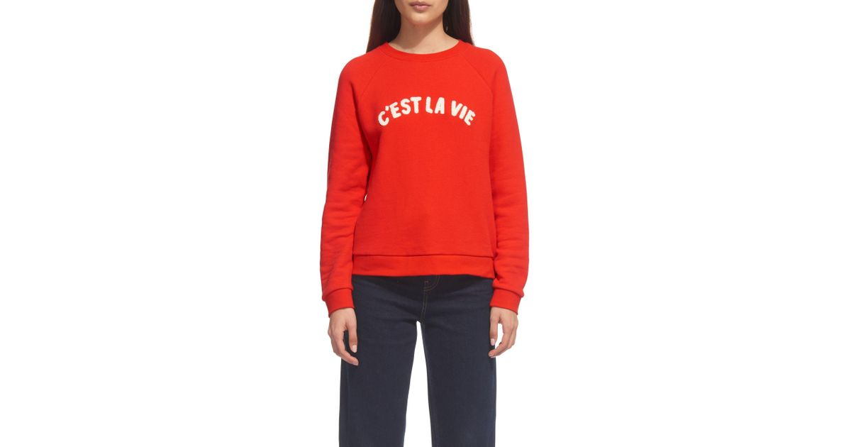 Whistles Cest La Vie Sweater In Red Lyst