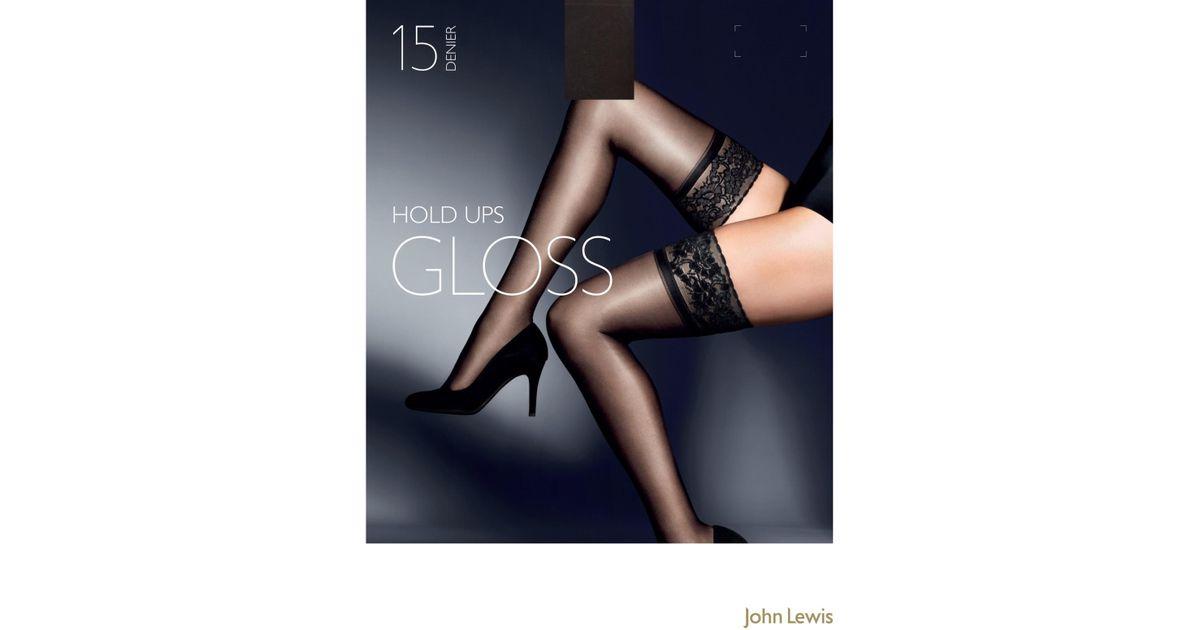 da0a89144a2 John Lewis 15 Denier Gloss Hold-ups in Black - Lyst