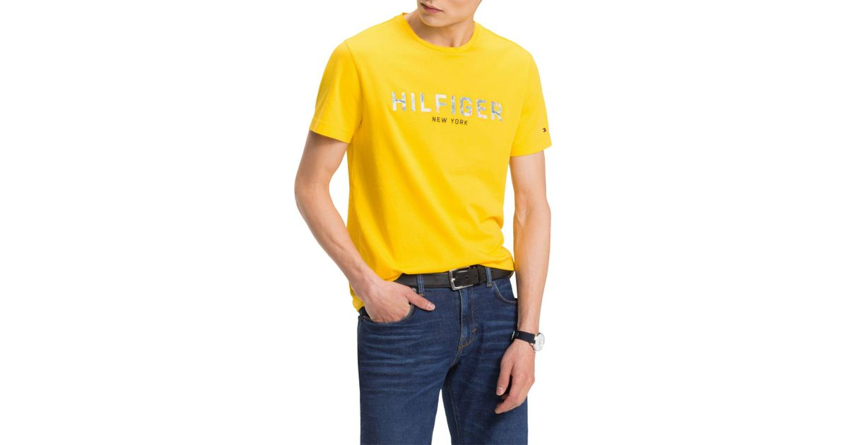 bb33aed8 Tommy Hilfiger Short Sleeve Floral Logo T-shirt in Yellow for Men - Lyst