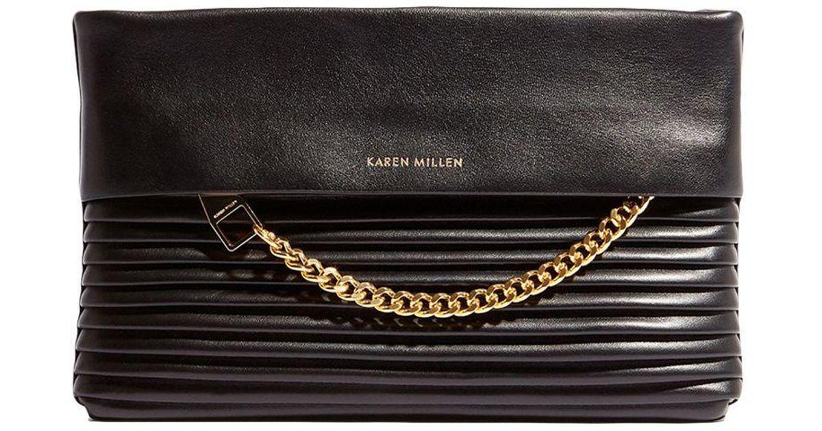 742aed85167d Karen Millen Leather Textured Chain Zip Clutch Bag in Black - Lyst