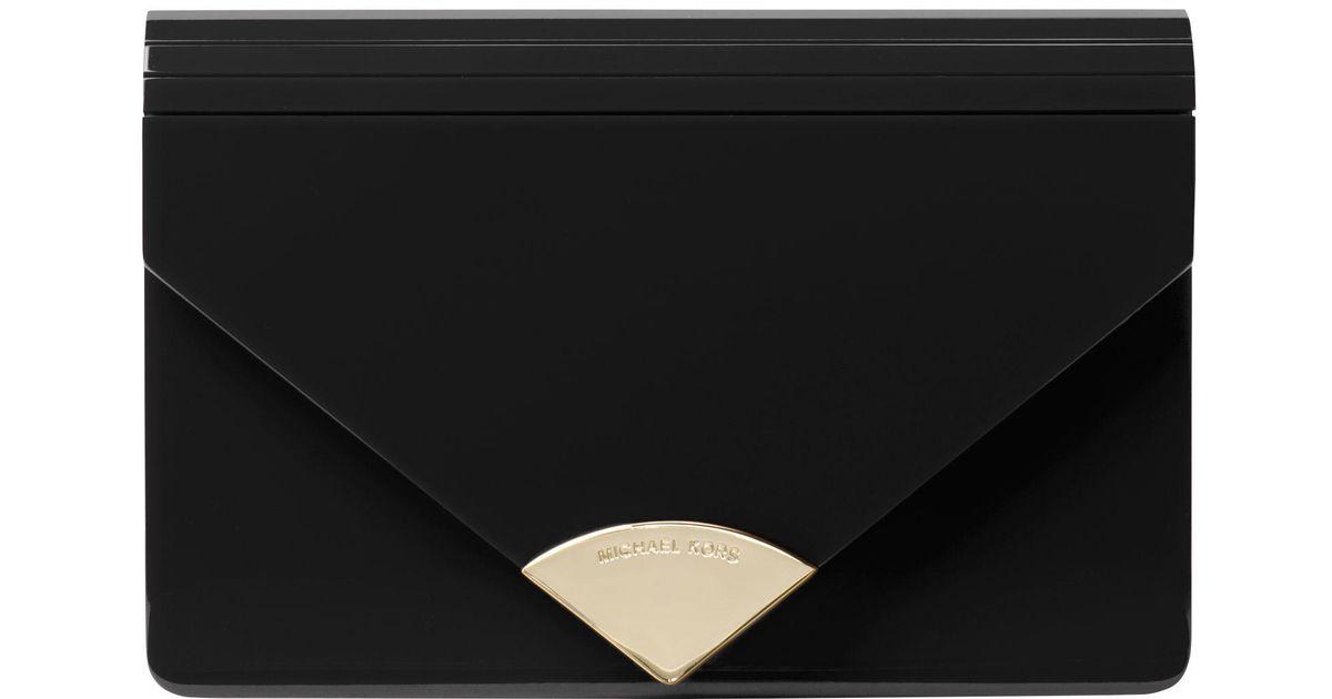 73d655541dc0 Michael Kors Michael Barbara Medium Envelope Clutch in Black - Lyst
