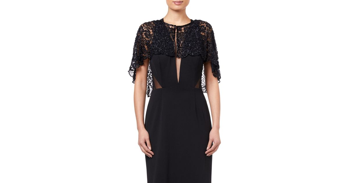 d3008cd8f7 Adrianna Papell Bead Lace Cover Up in Black - Lyst