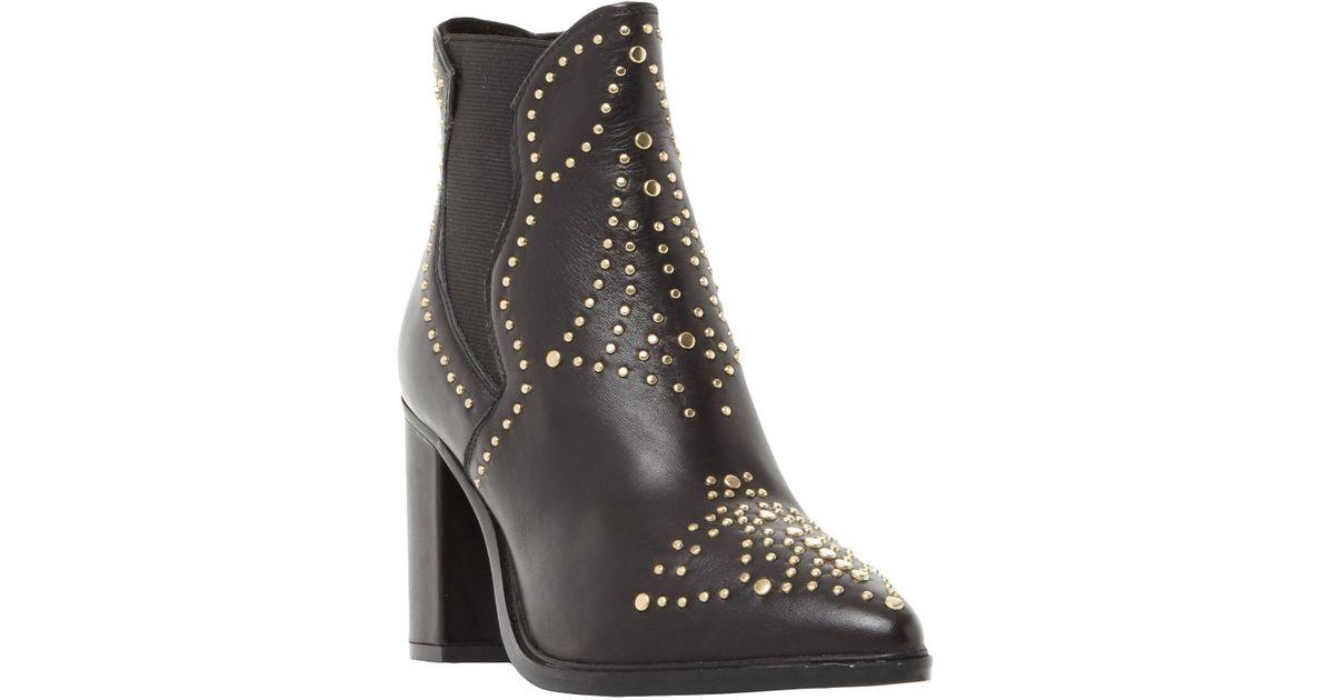 81ffe887729c Steve Madden Himmel Studded Block Heeled Ankle Boots in Black - Lyst