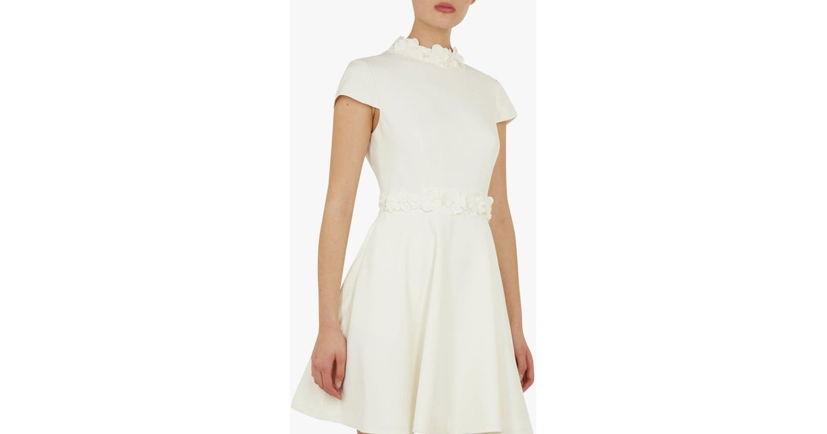 Ted baker elianah floral applique skater dress in white lyst