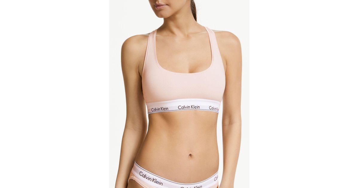 d60c5bb8e3 Calvin Klein Underwear Modern Cotton Bralette in Pink - Lyst