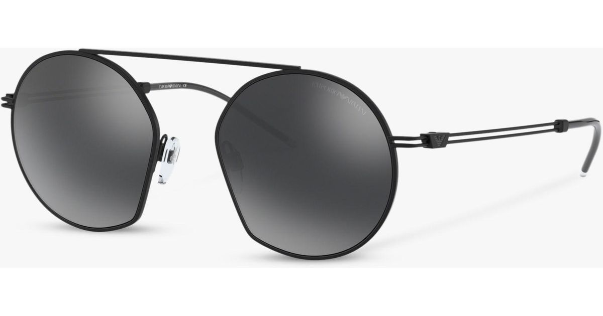 84d3c4a9ef56e Emporio Armani Ea2078 Men s Asymmetric Round Sunglasses in Black for Men -  Lyst