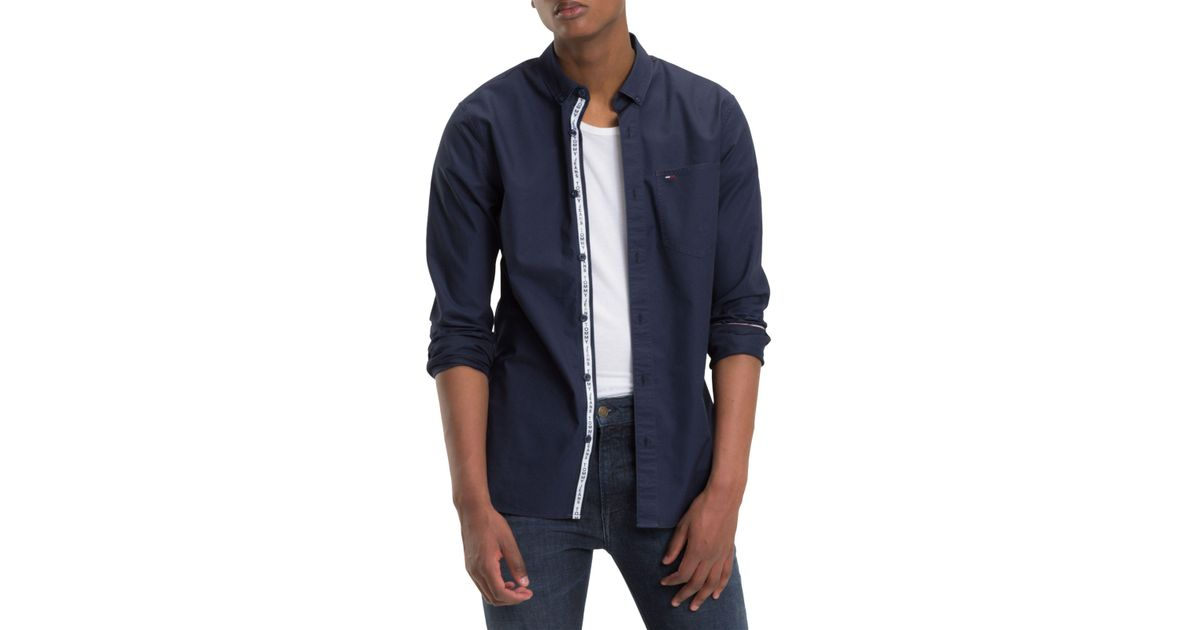 32555b43e6b8 Tommy Hilfiger Tommy Jeans Tape Detail Shirt in Blue for Men - Lyst