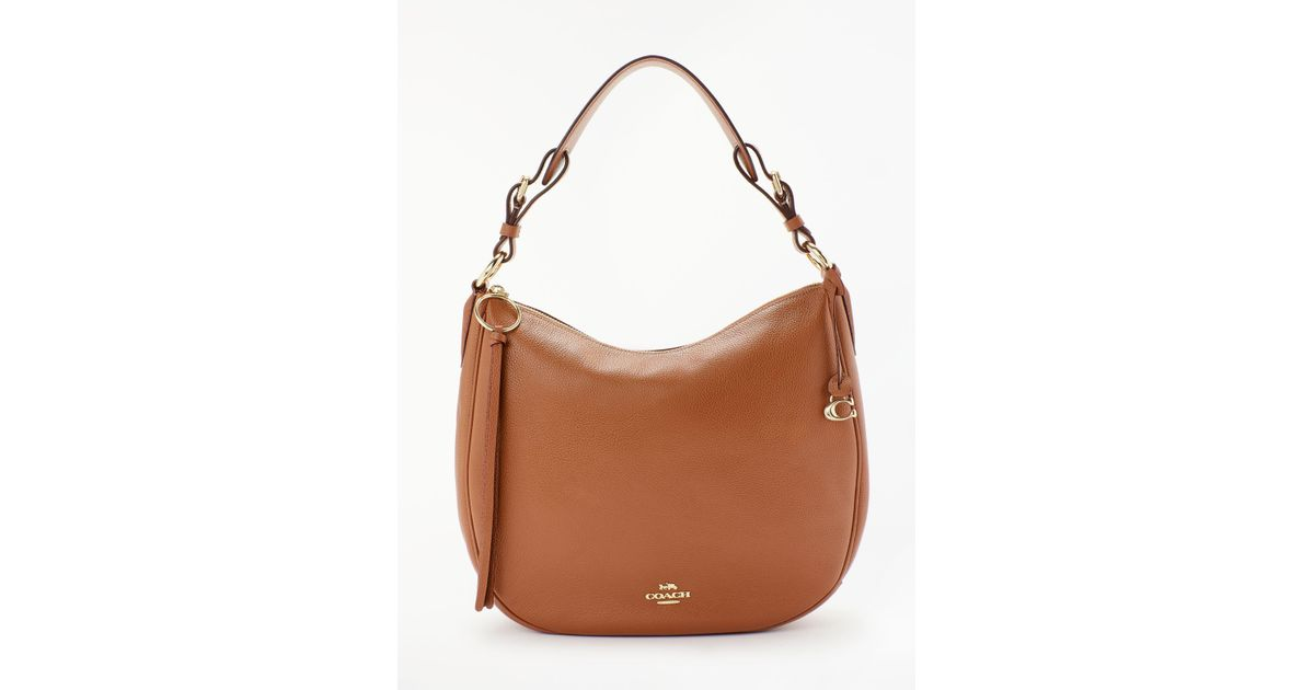 1815e546ba2f83 COACH Sutton Pebbled Leather Hobo Bag in Brown - Lyst