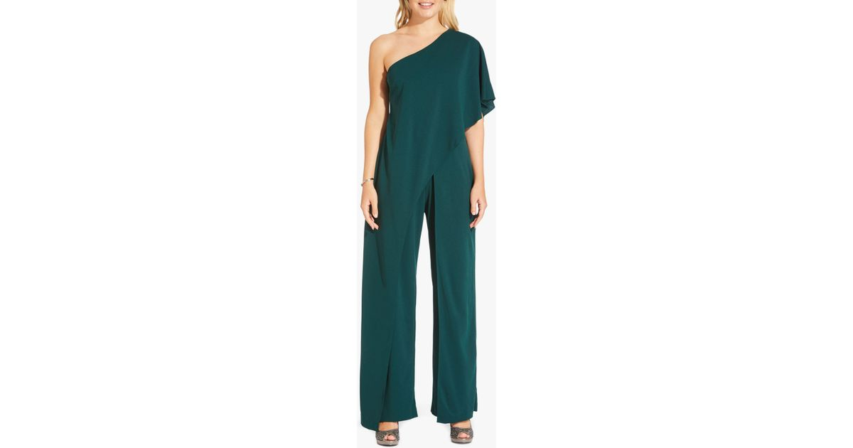 93a700fe4e8 Adrianna Papell Flutter One Shoulder Jumpsuit in Green - Lyst