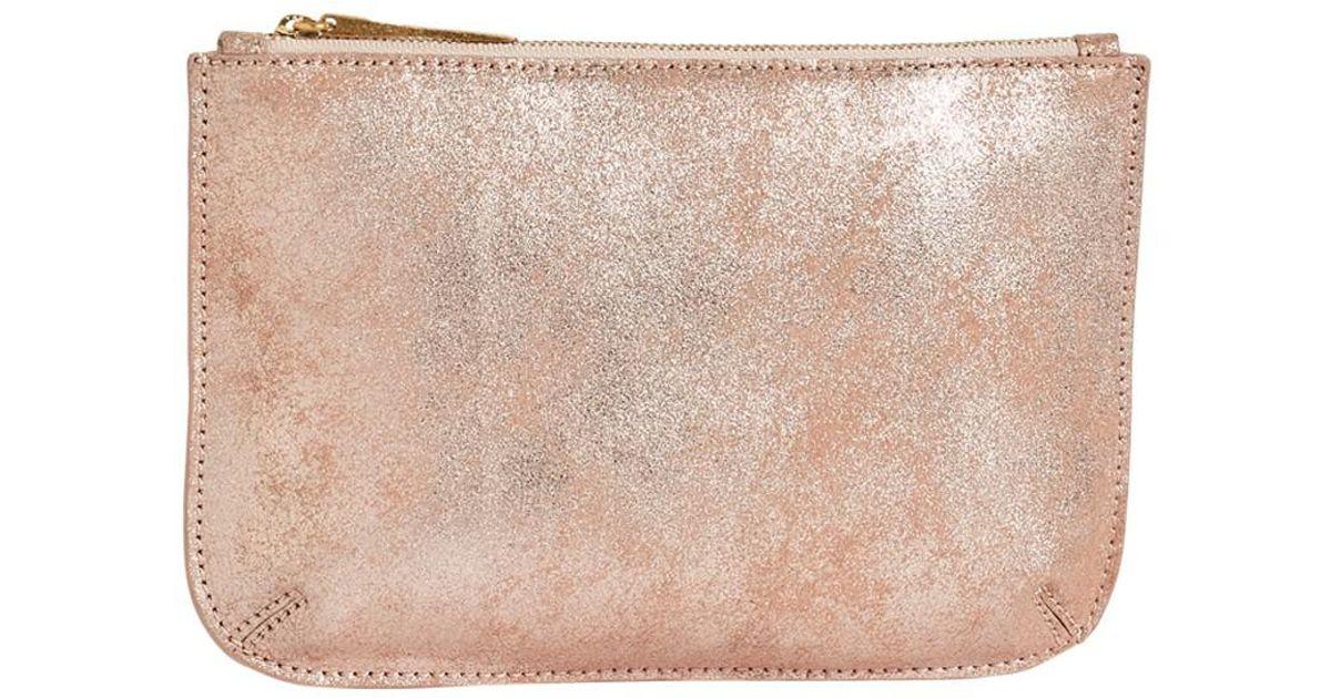 ee95b33efcb Jigsaw Alba Medium Textured Leather Pouch Clutch in Pink - Lyst