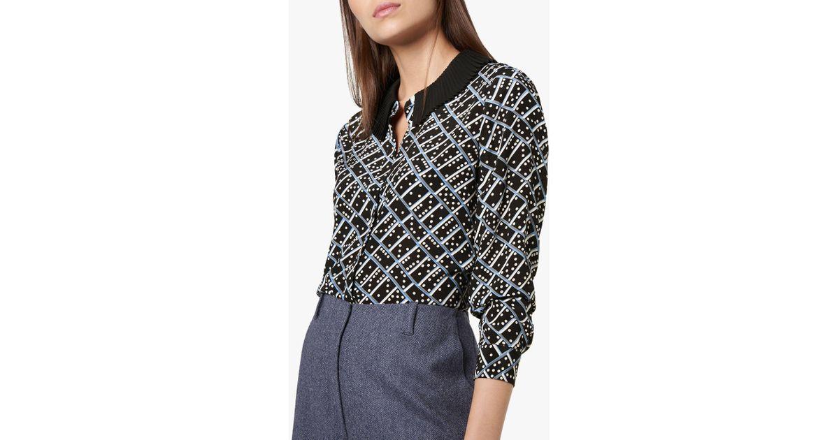 de0739b0d1ec0 L.K.Bennett Lotte Domino Print Silk Blouse in Black - Lyst