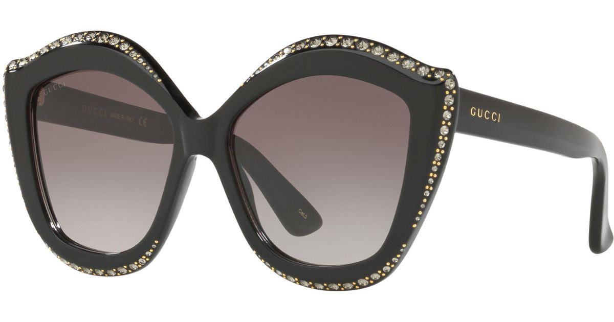 ffd195d54 Gucci GG0118S Embellished Cat's Eye Sunglasses in Brown - Lyst