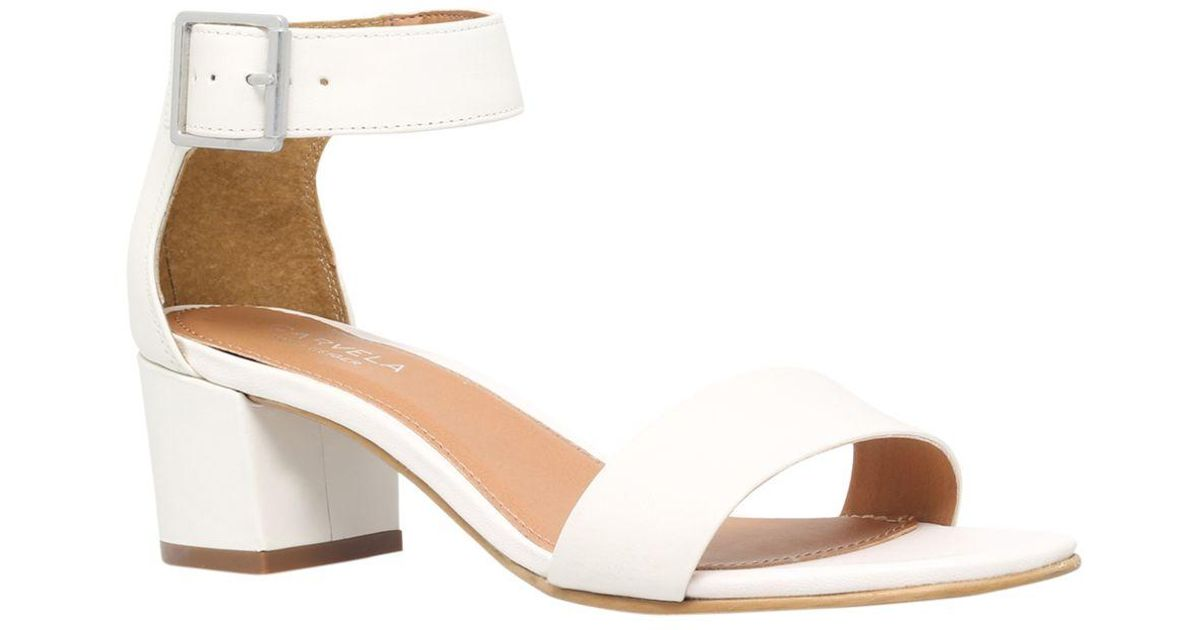e55552307bf Carvela Kurt Geiger Shadow Block Heeled Sandals in White - Lyst