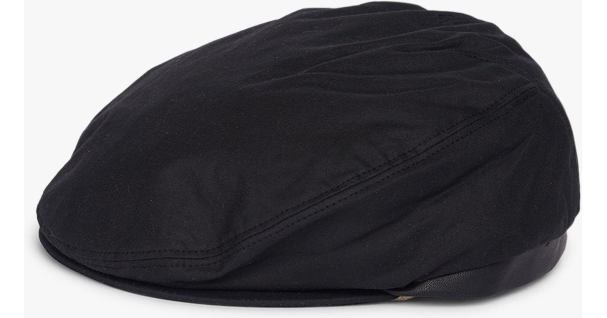 Barbour Land Rover Defender Waxed Cotton Flat Cap in Black for Men - Lyst 170f5c26fa2