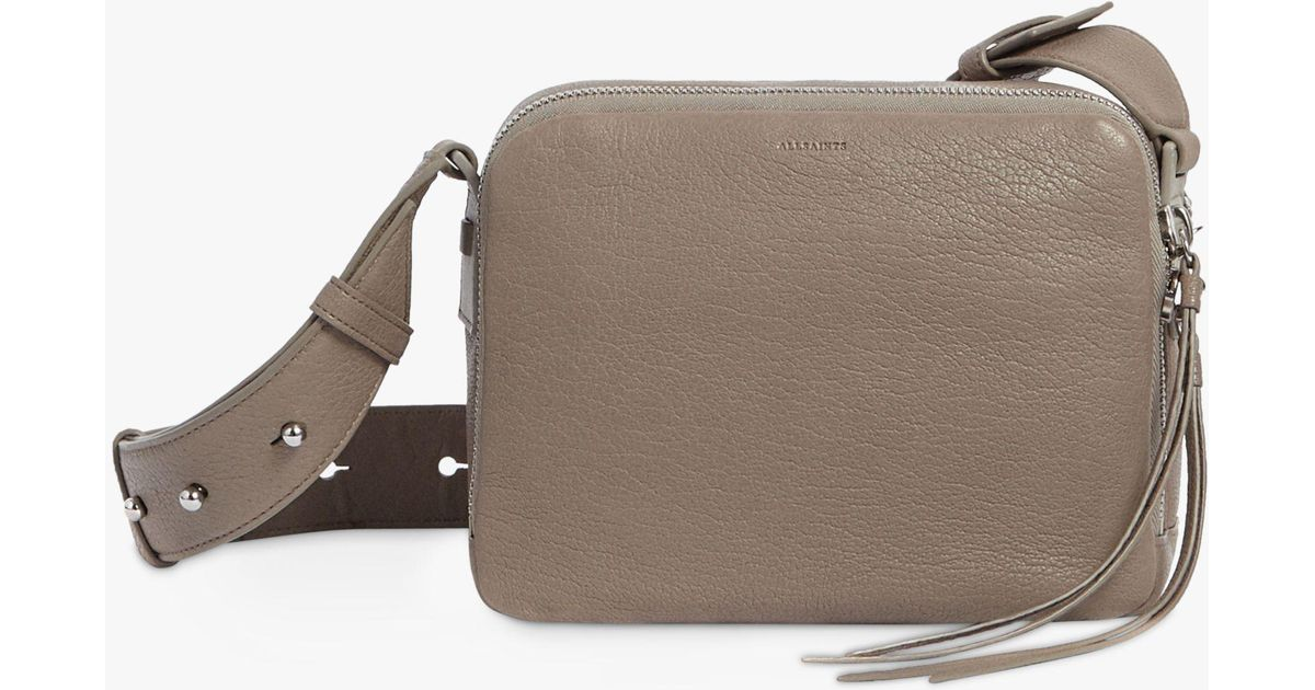 ed4b969fc8829 AllSaints Vincent Leather Cross Body Bag in Gray - Lyst