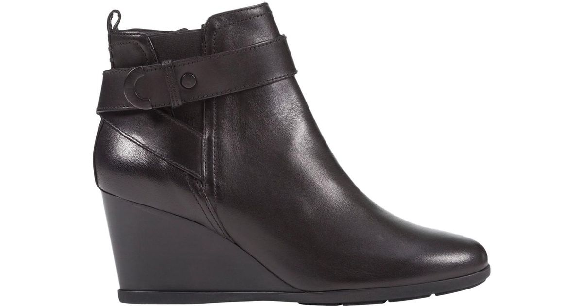 8b3c3b8970f4e Geox Inspiration Wedge Heeled Buckle Ankle Boots in Black - Lyst