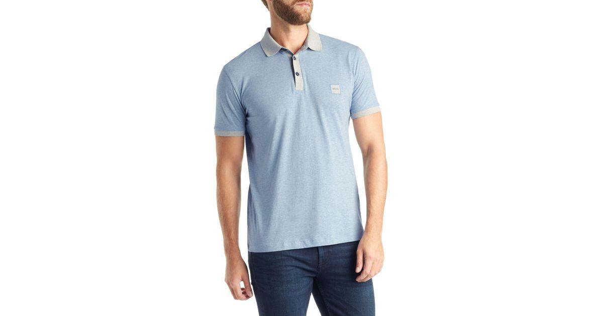9b1d91bae346 BOSS Boss Pother Short Sleeve Polo Shirt in Blue for Men - Lyst