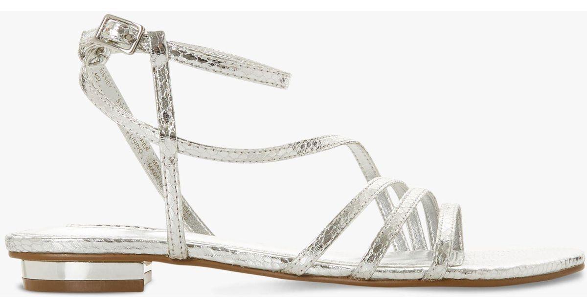 a77db6e3d6e Dune Nissey Triple-strap Metallic Sandals in Metallic - Lyst