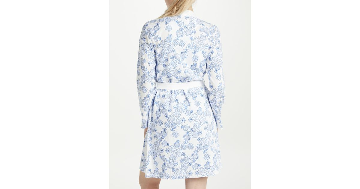 John Lewis Melissa Floral Print Cotton Jersey Dressing Gown in Blue ...