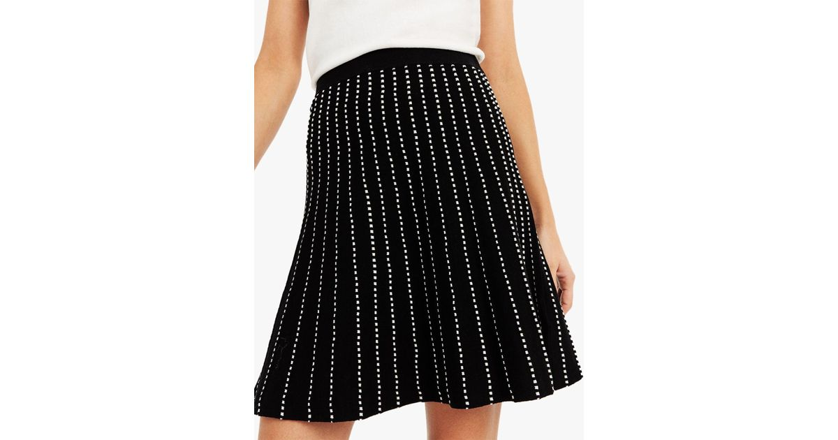 00106b57392e Oasis Julia Line And Dot Knitted Skirt in Black - Lyst