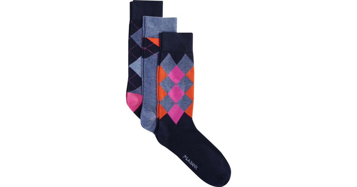 d3135e6e73ba Lyst - Jos. A. Bank Argyle Patterned Dress Socks, 3-pair Clearance in Blue  for Men
