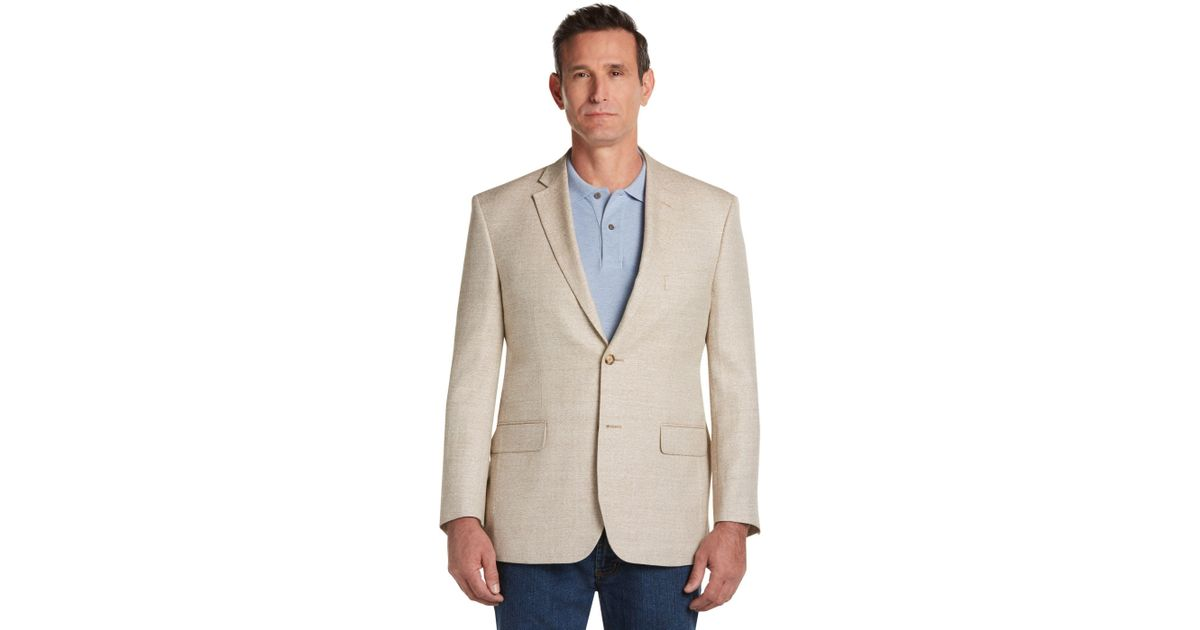 jos a bank tropical blend tailored fit tan herringbone sportcoat big and tall for men save. Black Bedroom Furniture Sets. Home Design Ideas