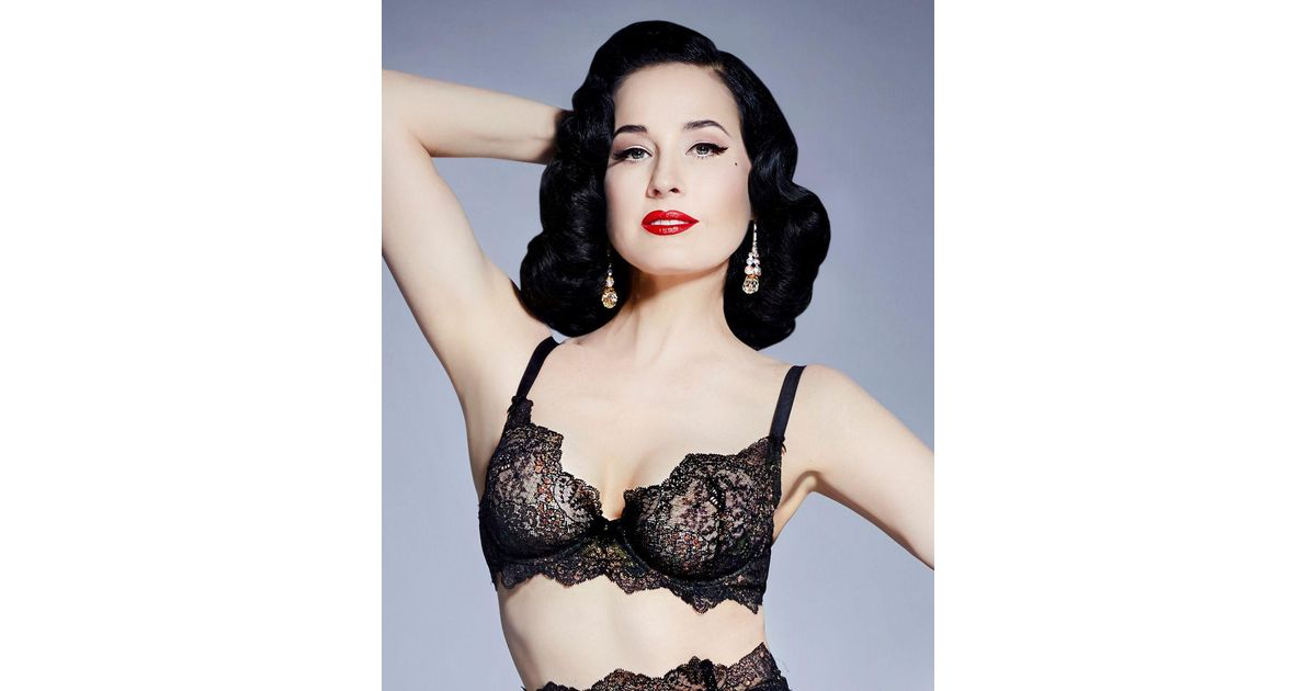 a406e3ab030 Dita Von Teese Lurex Lace Underwire Bra in Black - Save 30% - Lyst