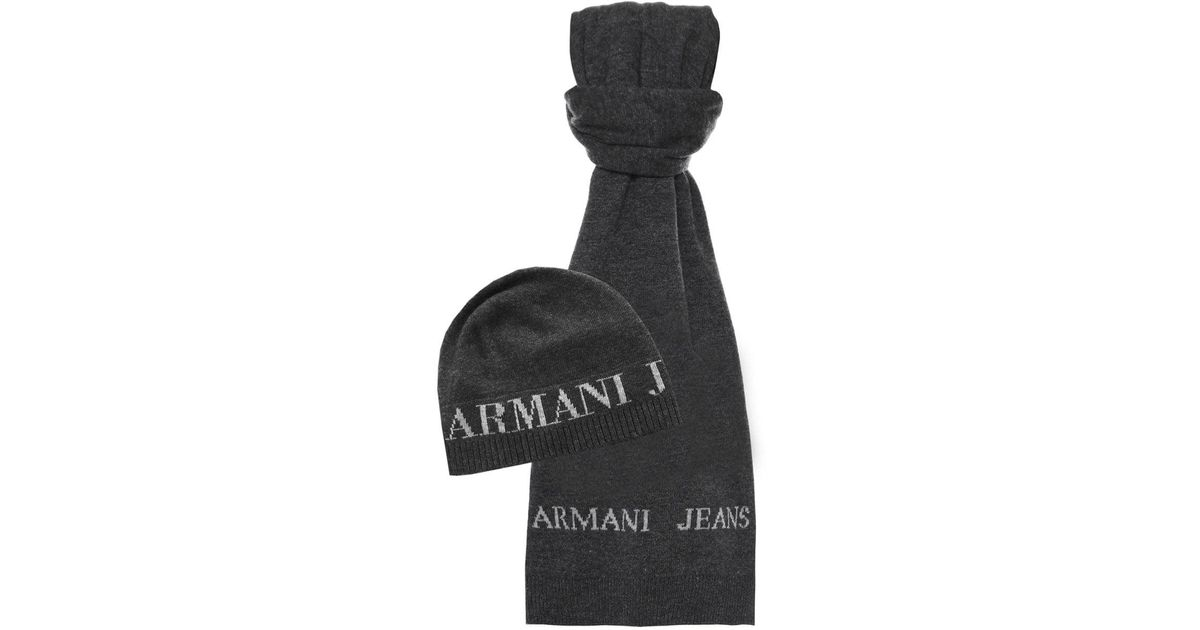 ae027684f8b Armani Jeans Beanie Hat   Scarf in Gray for Men - Lyst