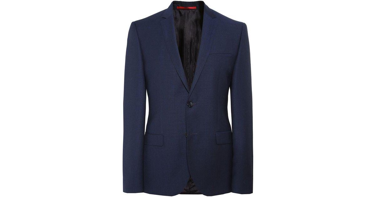 a3335aacebc Lyst - HUGO Virgin Wool Arti Jacket in Blue for Men