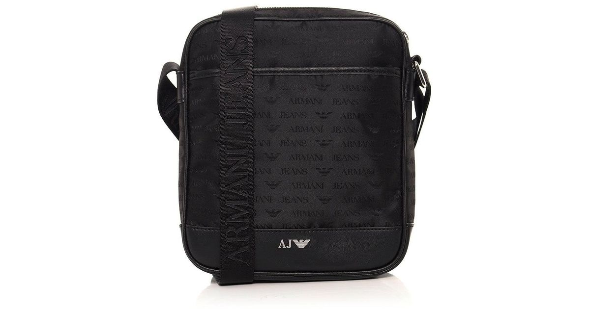 b2adebfe8a5 Armani Jeans Jacquard Logo Messenger Bag in Black for Men - Lyst