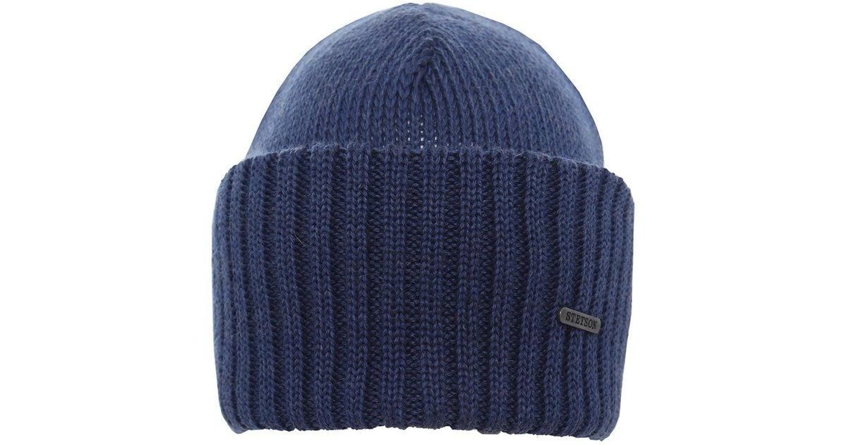 54d987a5b4d Stetson Merino Wool Beanie Hat in Blue for Men - Lyst