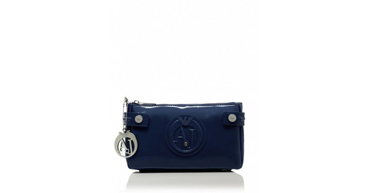 af3247a48897 Armani Jeans Small Patent Shoulder Bag in Blue - Lyst