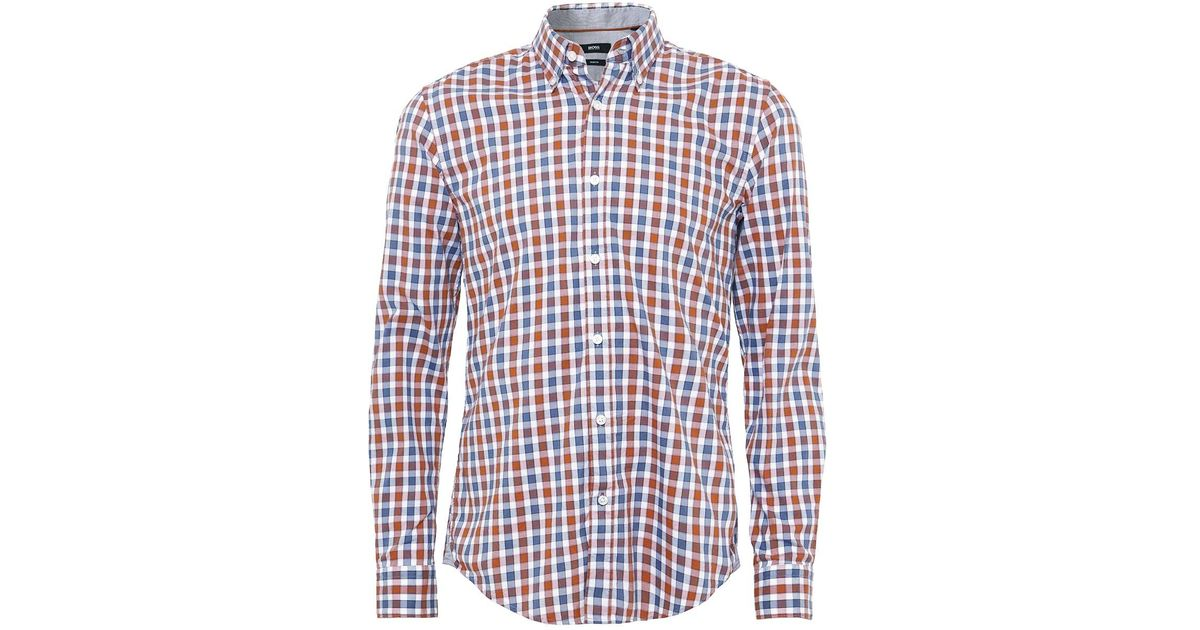 e4481f20 Lyst - Boss Slim Fit Rod_41 Check Shirt in Blue for Men