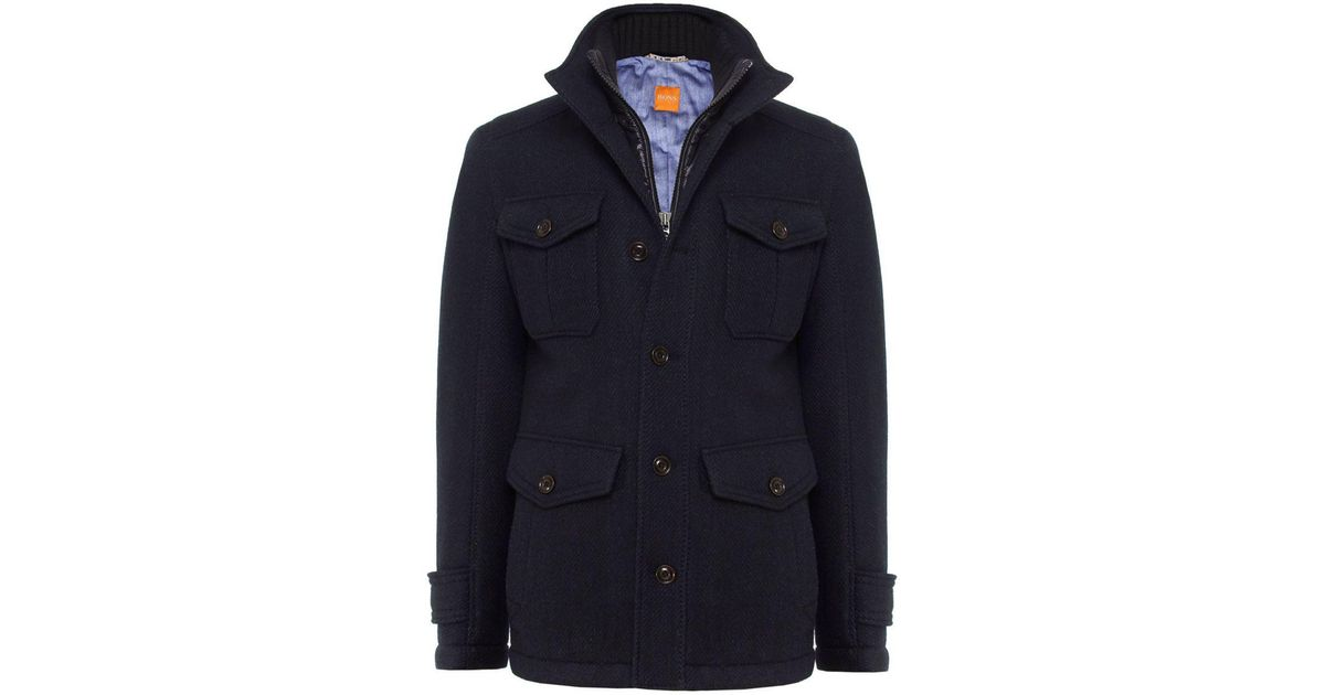 ab698cf5061d BOSS Orange Orfey Wool Coat in Blue for Men - Lyst