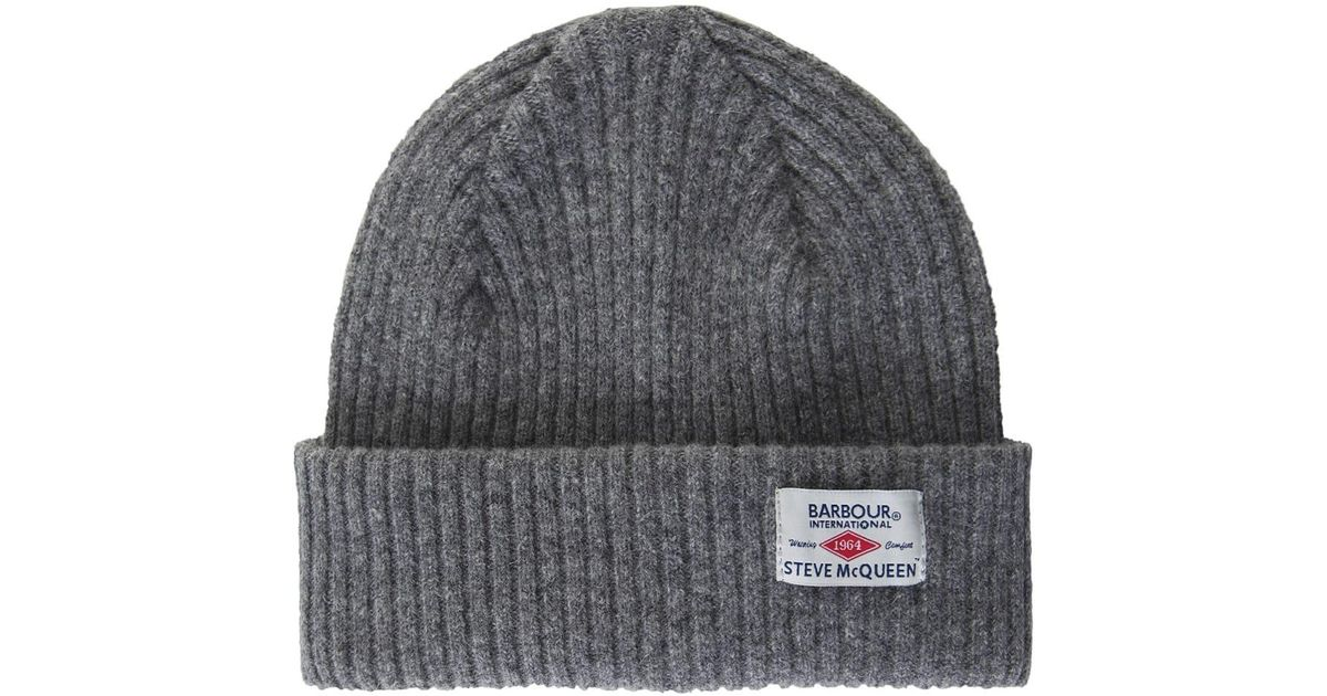 a42b36884f7 Barbour Lambswool Everett Beanie Hat in Gray for Men - Lyst