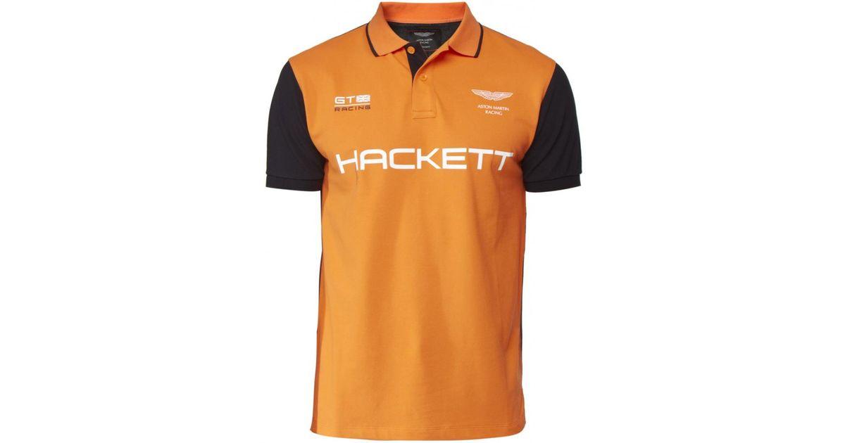 Hackett Aston Martin Racing Polo Shirt In Orange For Men Lyst - Aston martin shirt
