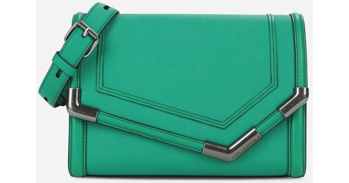 a7c3023319 Lyst - Karl Lagerfeld K rocky Saffiano Shoulder Bag in Green