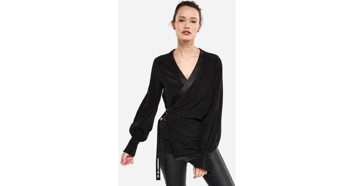 edea9c416efce Lyst - Karl Lagerfeld K tokyo Silk Wrap Blouse in Black