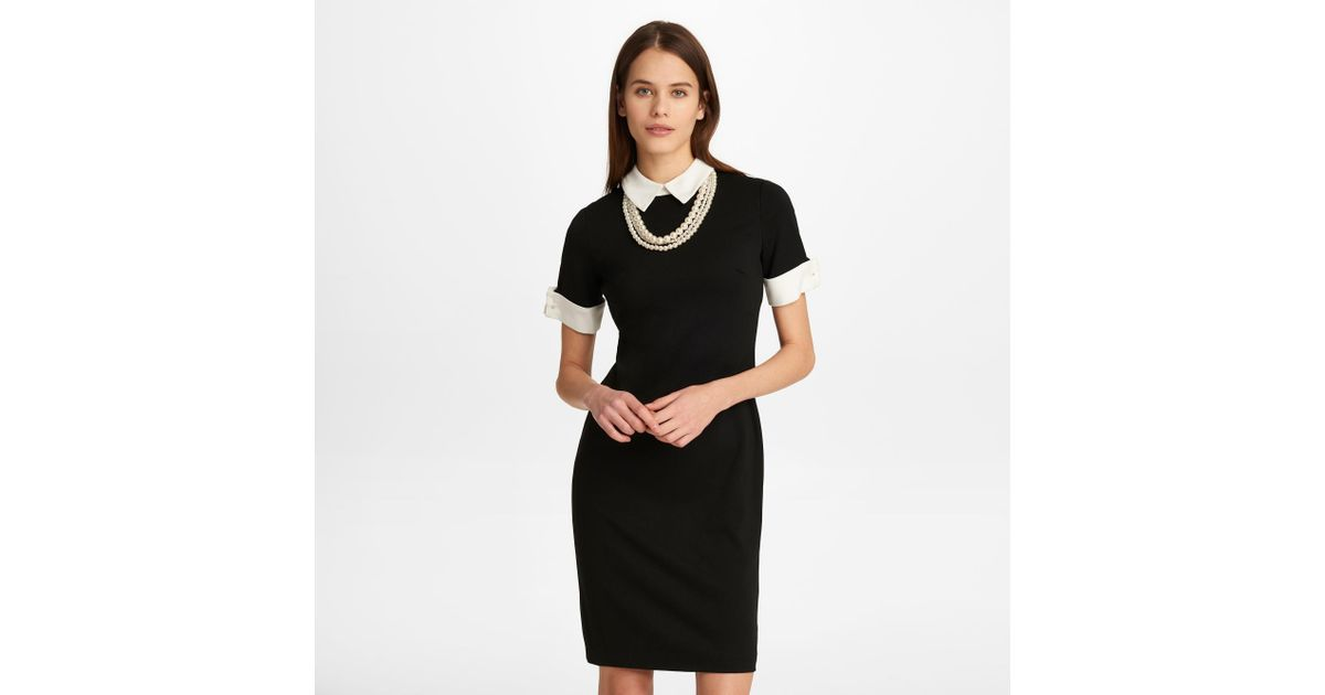 bf8fcdc5573a6 Karl Lagerfeld Shift Dress With Pearl Necklace in Black - Lyst