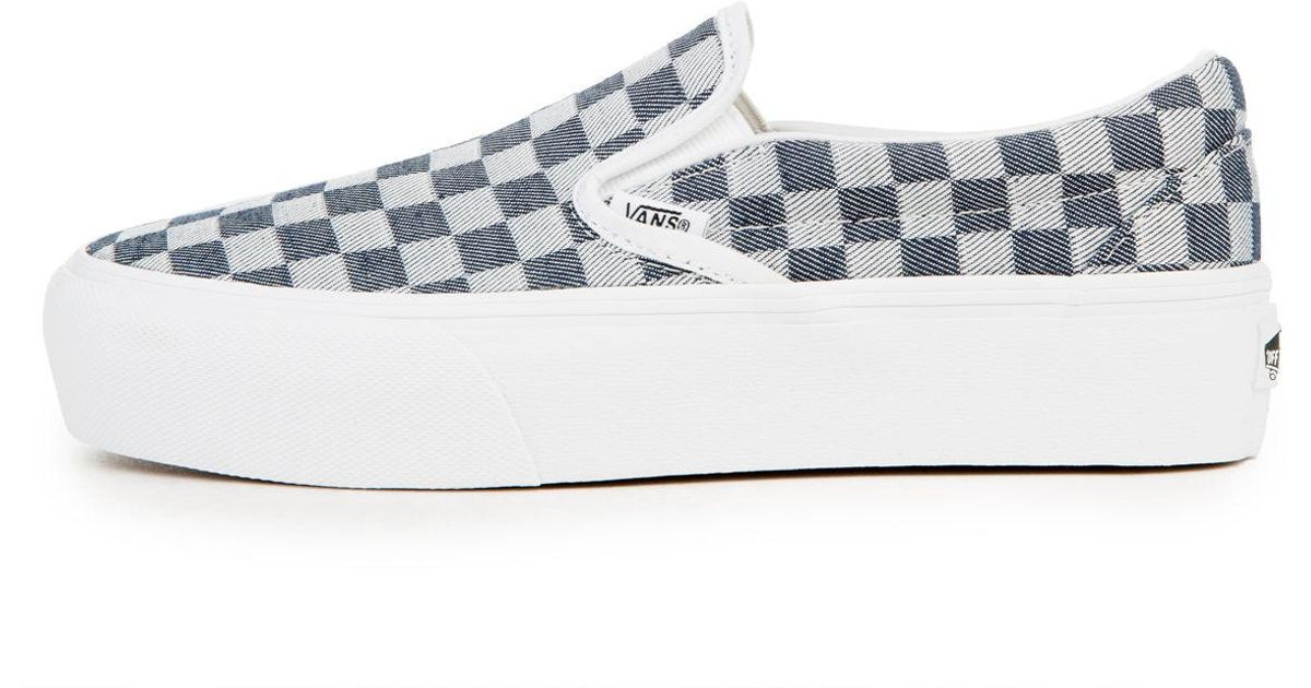 b1d426e4a1 Lyst - Vans The Women s Slip-on Platform In Checkerboard Denim in Blue