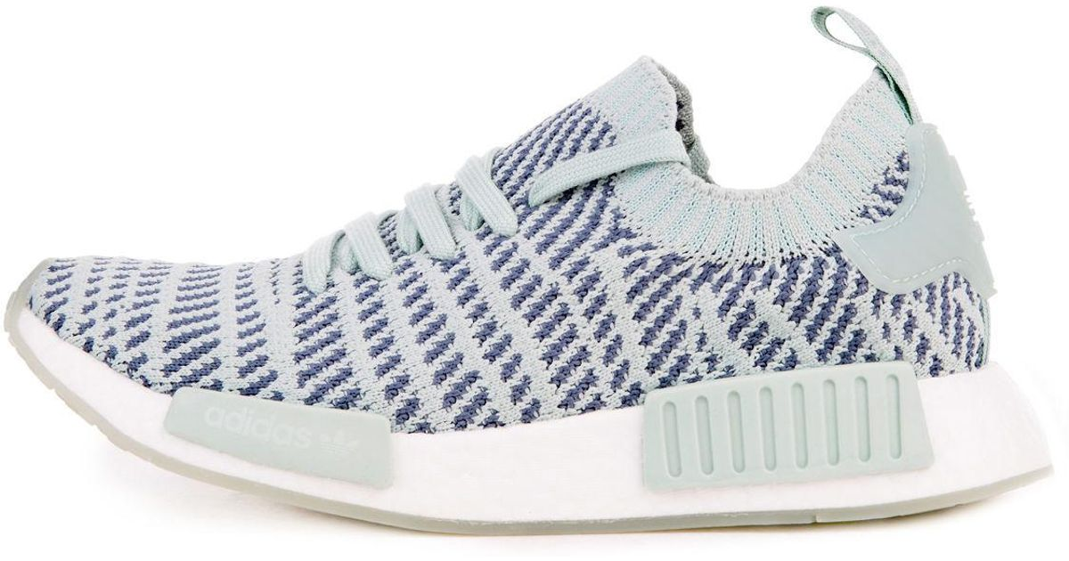 d9f7ceec61d600 Lyst - adidas The Women s Nmd R1 Stlt Primeknit In Ash Green  Raw Steel And White  in White