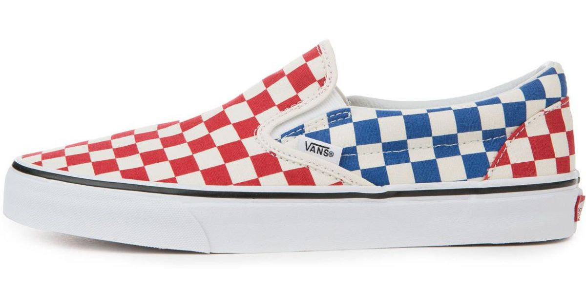 16e4b77c96f33e Lyst - Vans The Men s Classic Slip-on In Red And Blue Checkerboard in Blue  for Men