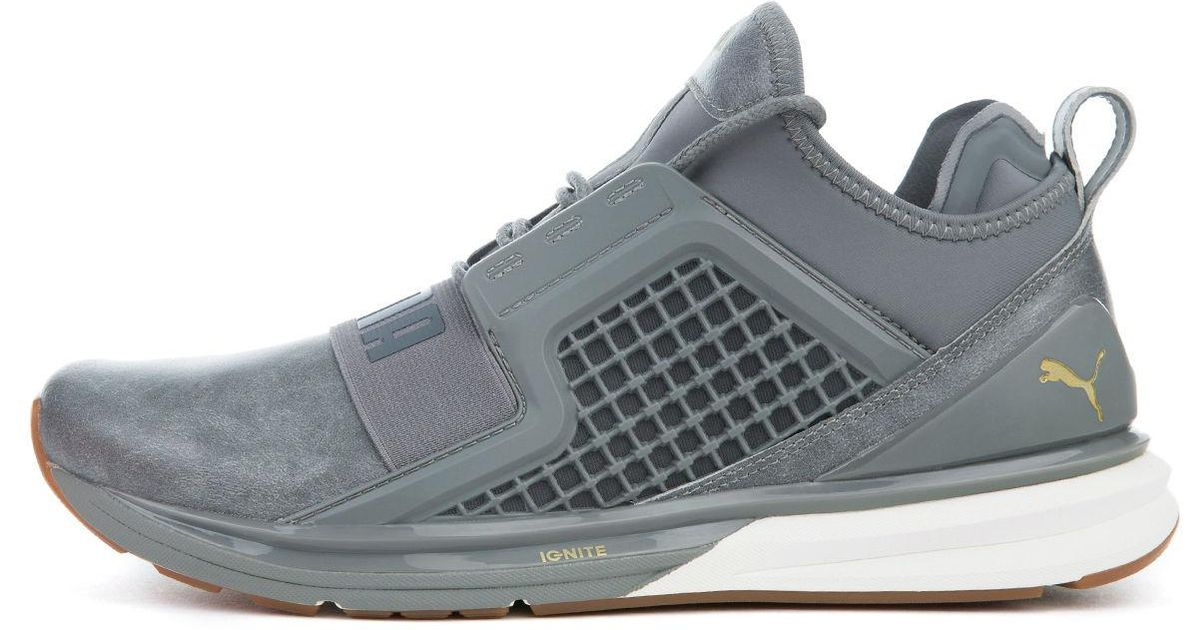 245551b9873c Lyst - PUMA The Ignite Limitless Leather In Quite Shade And Gold in Metallic
