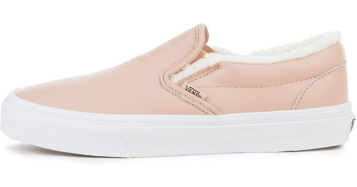 d193747a8d7 Lyst - Vans The Women s Leather Classic Slip-on In Mahogany Rose And True  White