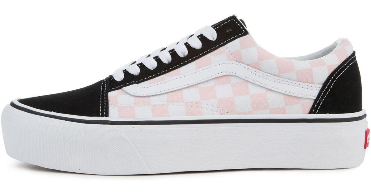 d90377c256a Lyst - Vans The Women s Old Skool Platform In Checkerboard Black And Pink  Dogwood in Black