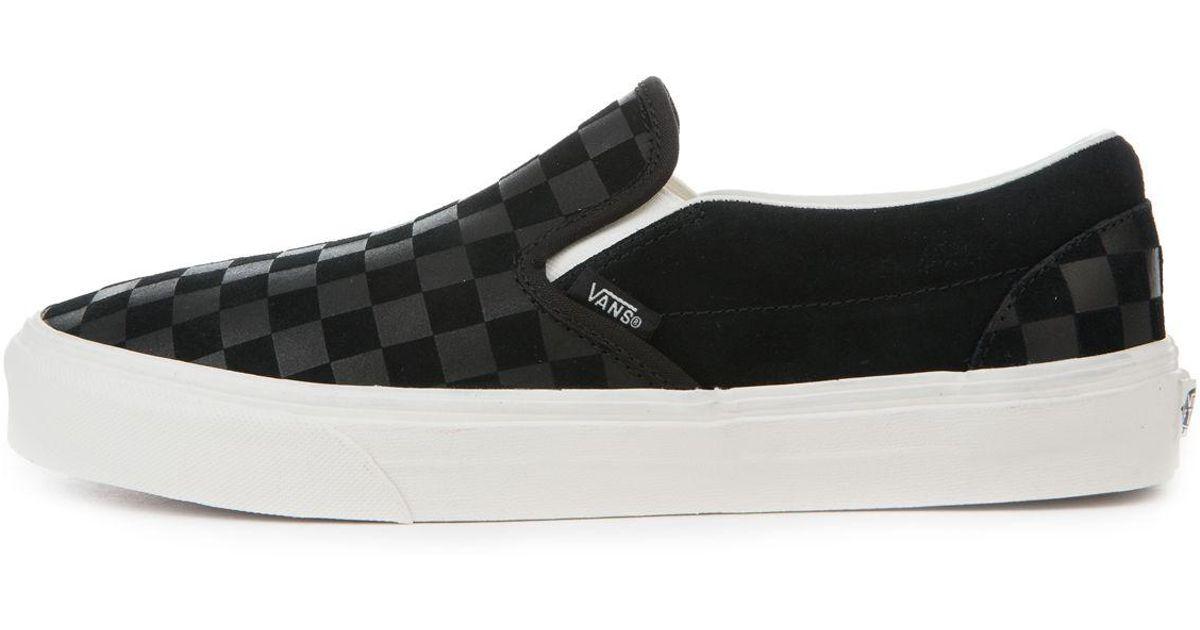227c141e743 Lyst - Vans The Men s Classic Slip-on In Black And Marshmallow Checker  Emboss in Black for Men